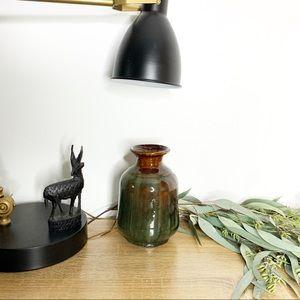 Gorgeous Green & Brown Glazed Pottery Vessel Vase